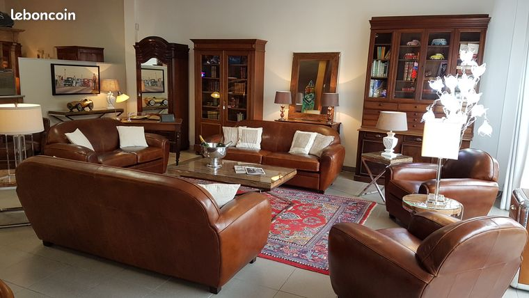 Salon Club 10 places cuir havane vintage