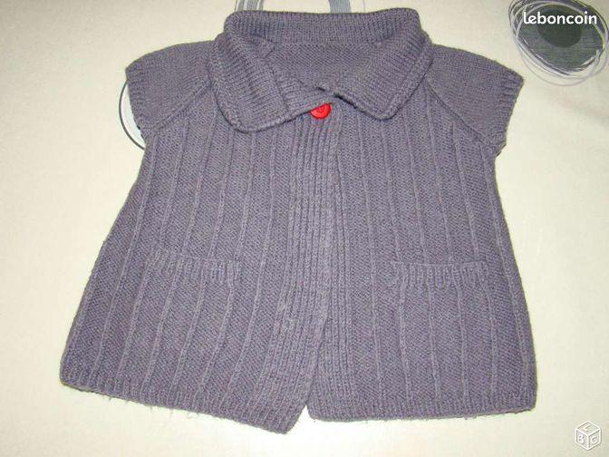 Cardigan tricoté main 12M - Sla85280 - La Ferrière - Cardigan tricoté main 12 mois A enlever sur place. Pour voir mes autres annonces, taper sla85280 dans la recherche.  - La Ferrière