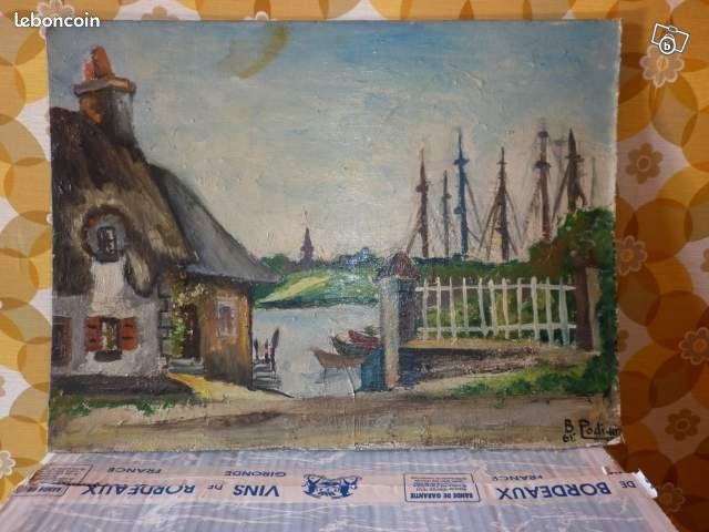 Tableau paysage maison et bateaux - Beauchamps - Je vends un tableau paysage,peint à la main,année 1961,dimensions 50 X 37 cm,en excellent état,d'autres genres à vendre photos sur demande  - Beauchamps