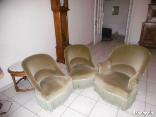 Lot de 3 fauteuils crapaud en velours