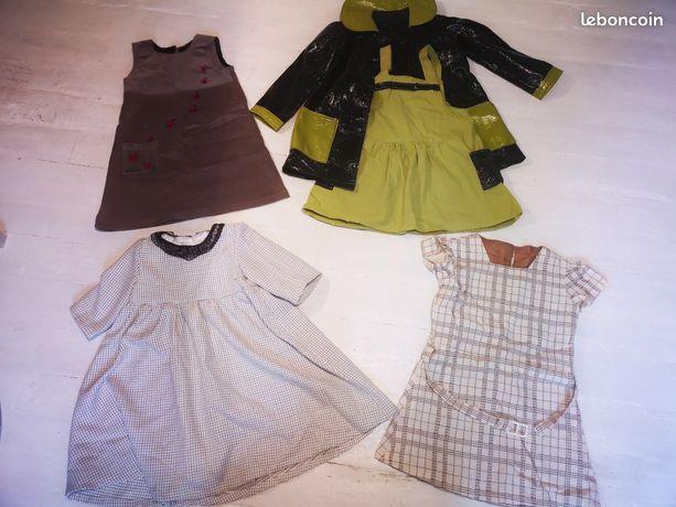 Lot robes vintage couturière 2/3 ans