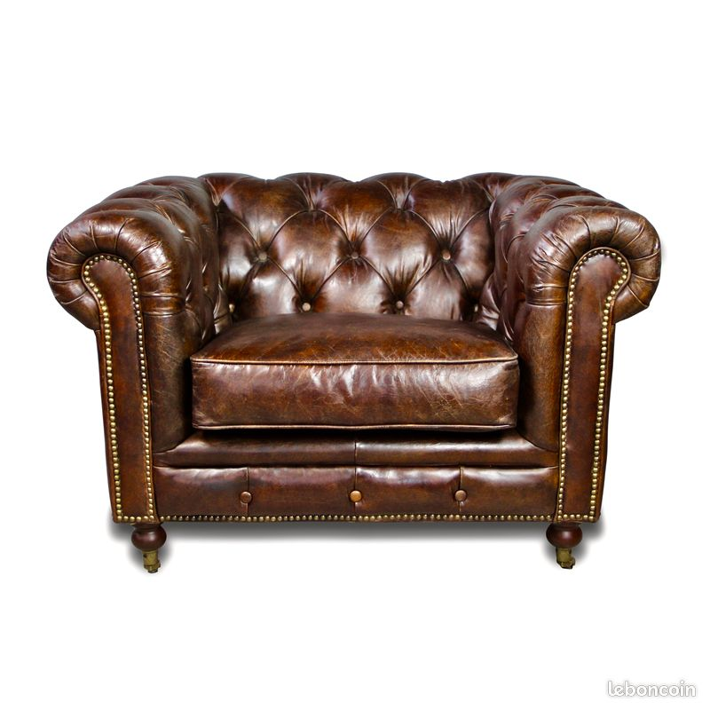 Canapé chesterfield cuir 3 places