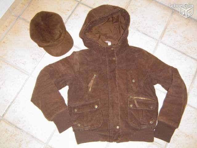 manteau et casquette fille velours marron 12 ans v tements val d 39 oise. Black Bedroom Furniture Sets. Home Design Ideas