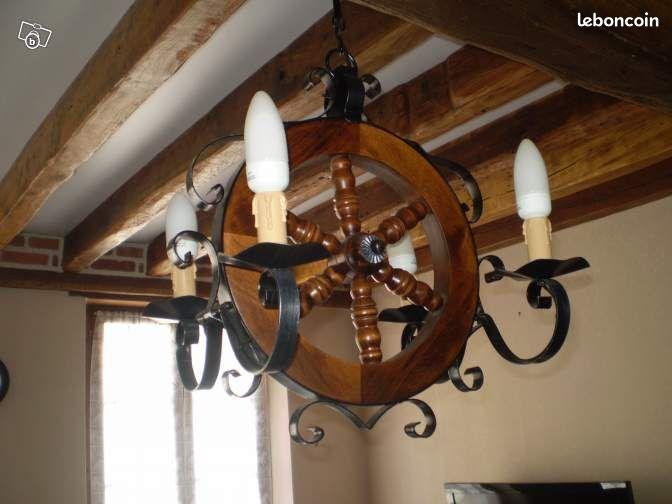 lustre en bois fer forge roue style ancien d coration. Black Bedroom Furniture Sets. Home Design Ideas