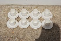 8 tasses vintage FOLLIET + 8 sous tasses
