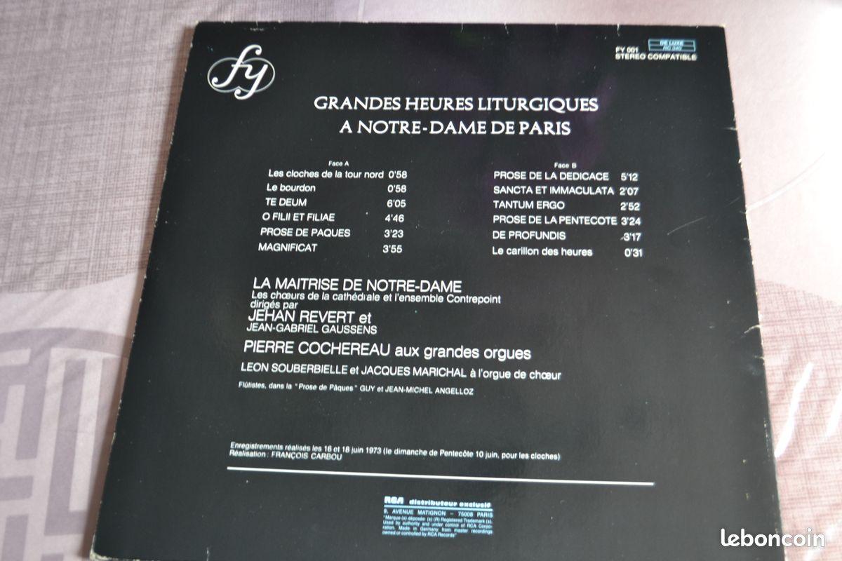 Disque vinyl 33t grandes heures liturgiques a notre dame perre cochereau 1973