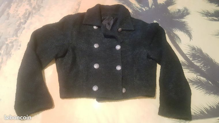 Blouson court noir Style VINTAGE taille M 38 - NEUF