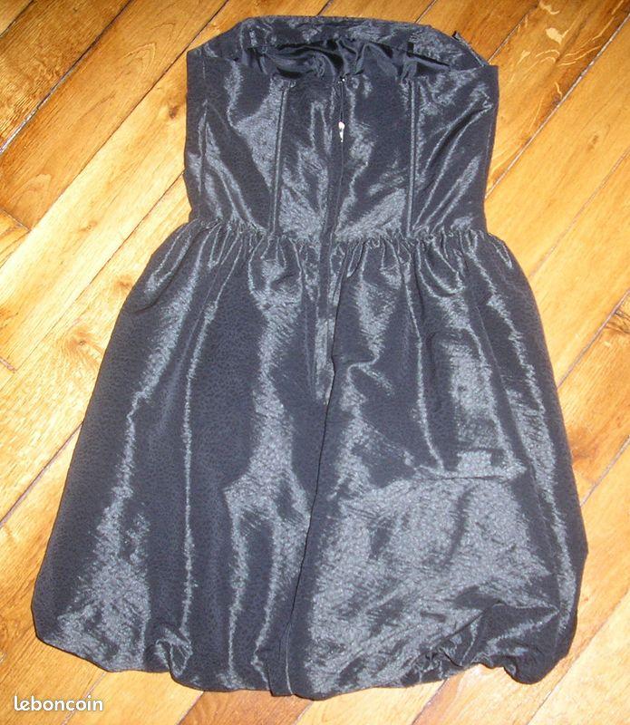 Robe de soirée noire en satin bustier pimkie txs