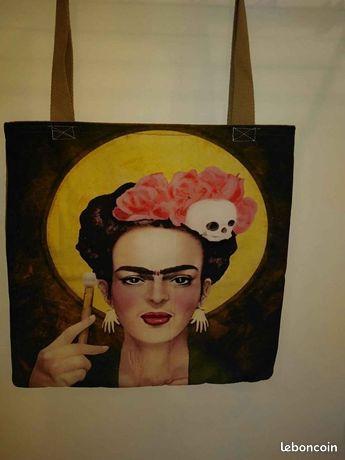 Sac en toile Frida Kahlo 38X 38 cm fait main , neuf