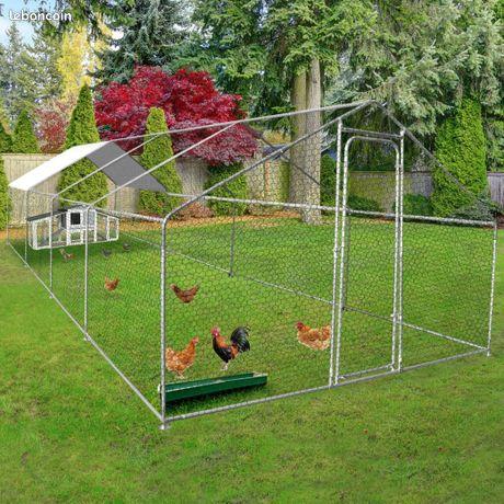 Poulailler XXL 8x3x2 m abri poule enclos parc poule voliere de jardin chatiere chat 24m²