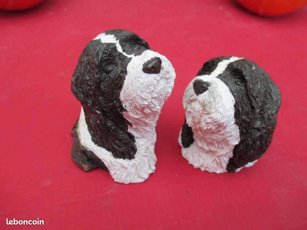 Statuette plâtre tête chien bearded collie couple