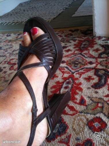 Nus pieds san marina marron t36/pseudo louisejade
