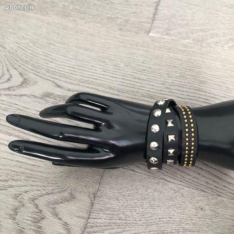 Bracelet simili cuir noir 3 rangs clous Femme neuf Authentique