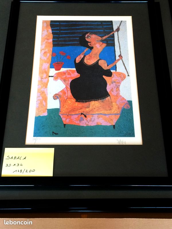 Cinq lithographies sabala encadrées