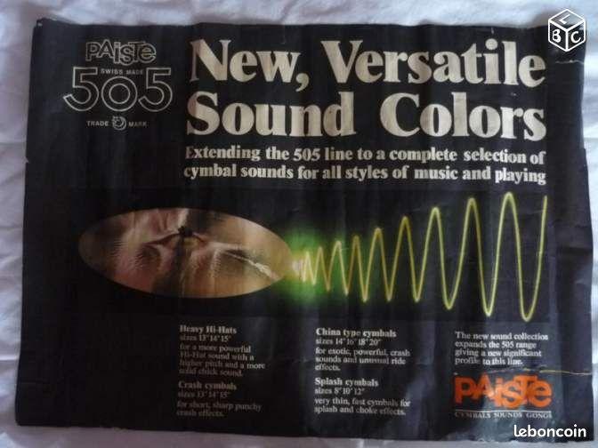Poster publicitaire Paiste 505 - Nancy - A vendre poster publicitaire Paiste 505, 43cm x 58cm, année 1980 environ. État moyen.  - Nancy
