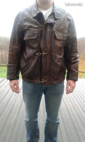 Veste cuir marron taille L