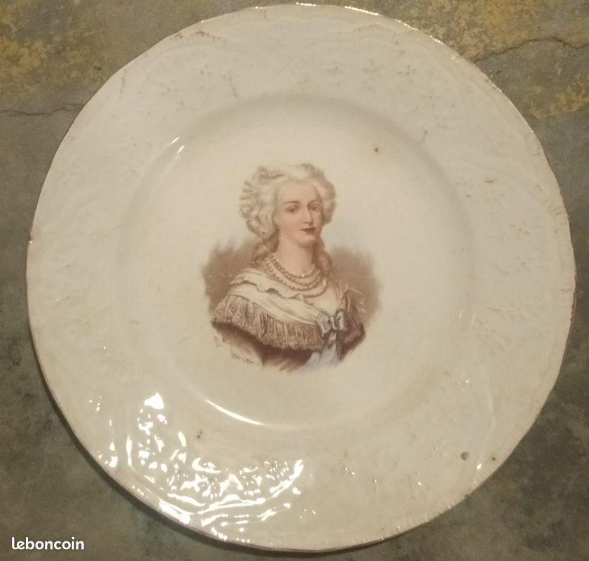 3 assiettes décoratives st amand avec louis xvi et marie-antoinette