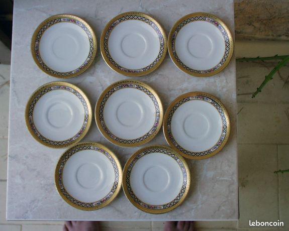 8 soucoupes décor magnifique dorées à la feuille d'or