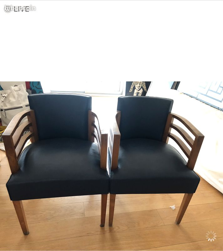 Paire de fauteuils bridge 1950
