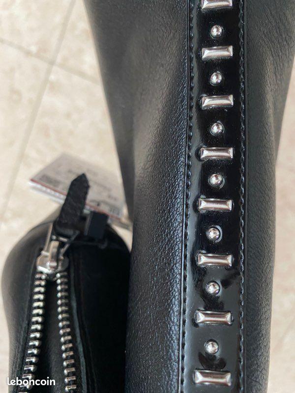 Bottines cuir noir zara