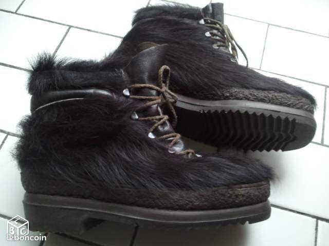apr s ski fourrure de ch vre cuir vintage chaussures. Black Bedroom Furniture Sets. Home Design Ideas