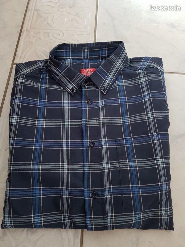 Chemise neuve bleue à rayures 47/48 homme