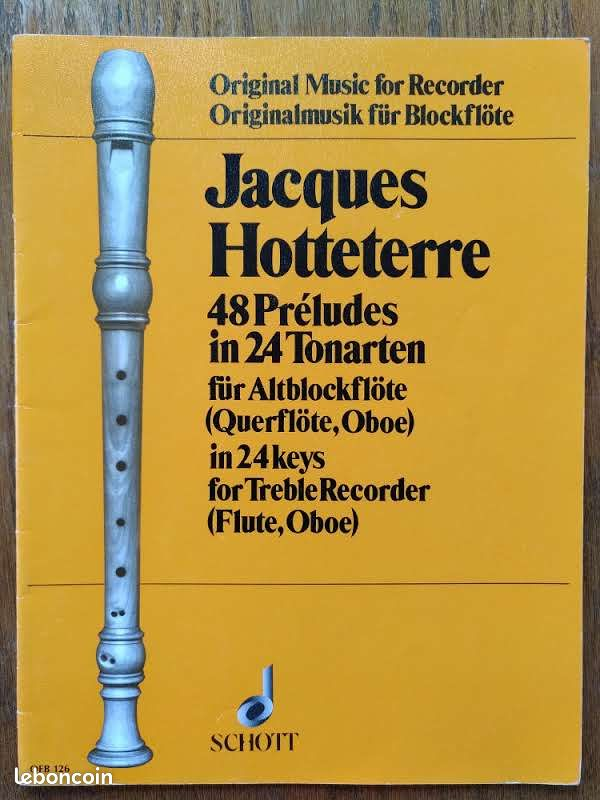 Hotteterre. 48 preludes in 24 tonarten in 24 keys fur altblockflote
