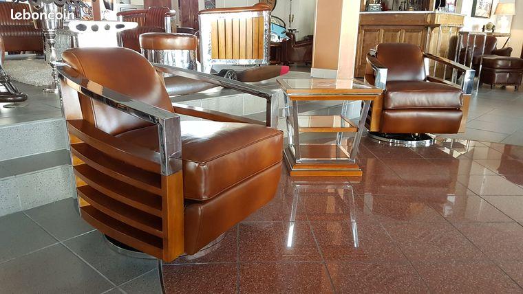 Fauteuil club tournant design inox et cuir