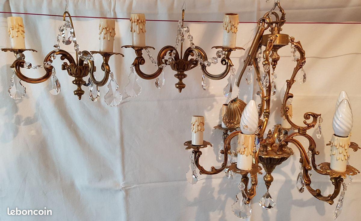 Lustre à pampilles cristal et bronze