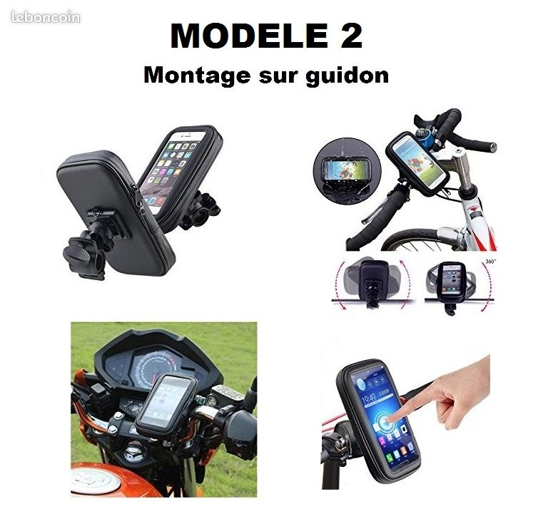 Support téléphone étanche et tactile guidon / rétroviseur scooter moto vélo trottinette