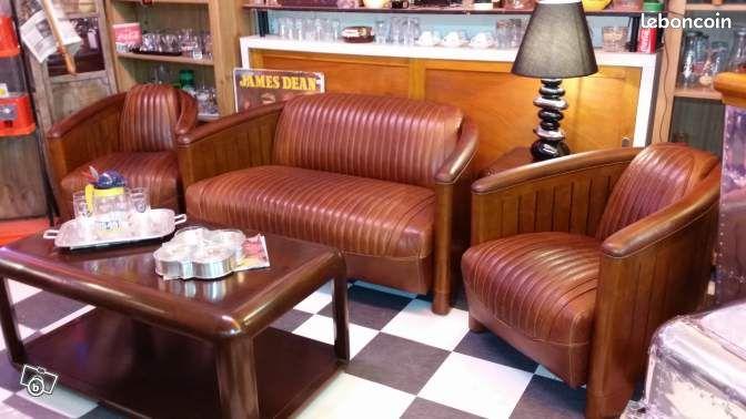 Salon cuir canoe 2 fauteuils club + 1 canapé Ameublement ...