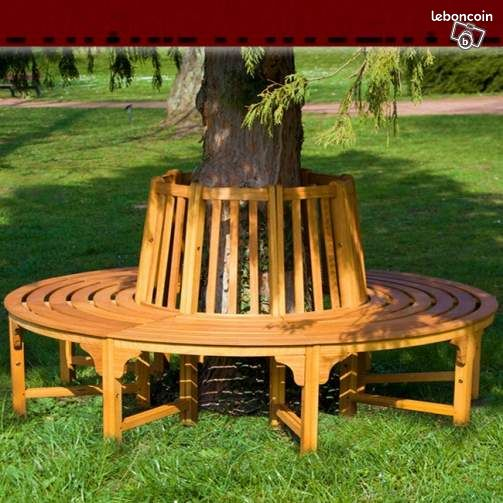 banc jardin en bois brut circulaire tour d 39 arbre ameublement morbihan. Black Bedroom Furniture Sets. Home Design Ideas