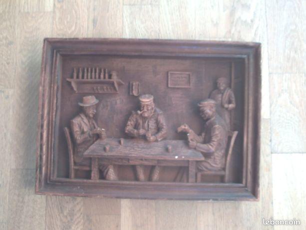 Sculpture sur bois en cadre