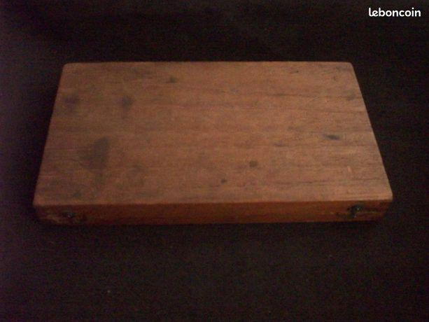 Boîte en bois pour compas intérieur en velours bleu foncé étui ancienne