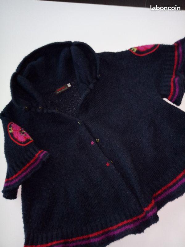 Pull cape catimini laine + mohair en 10 ans
