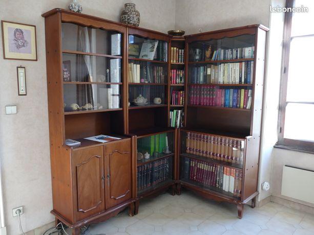 Bibliothèque d'angle bois vitrée