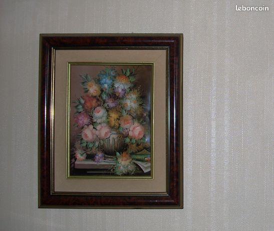 Tableau bouquet de fleurs en céramique vernie
