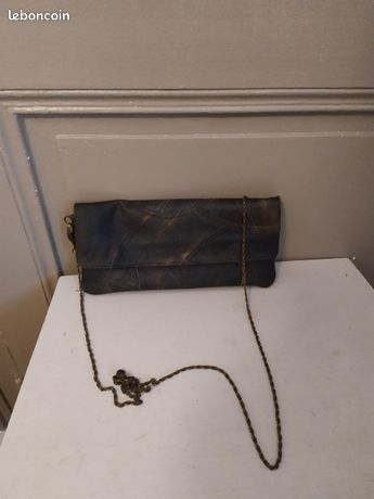 Sac pochette en cuir vintage à chaîne