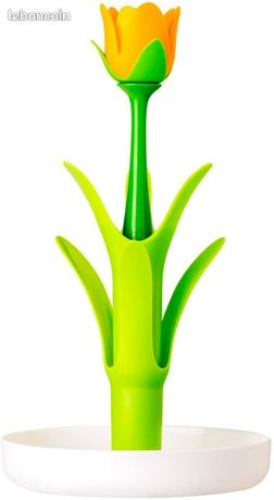 VIGAR - Flower Power - Égouttoir à verres et tasses Blanc/Vert/Jaune Fleur22 x 22 x 38 cm