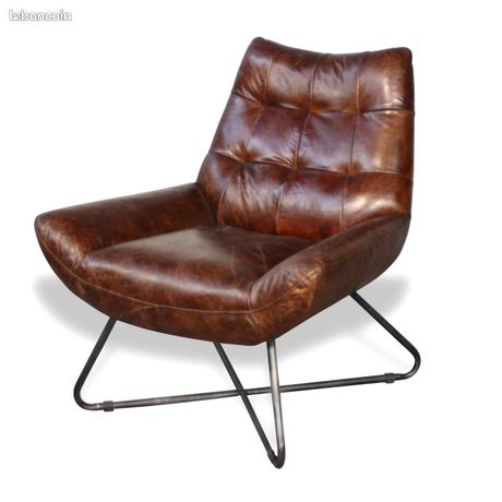 Fauteuil club cuir vintage brun style années 70 NEUF - STANFIELD