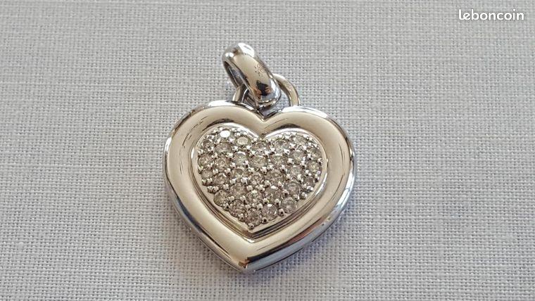 Pendentif or gris 18k et diamants