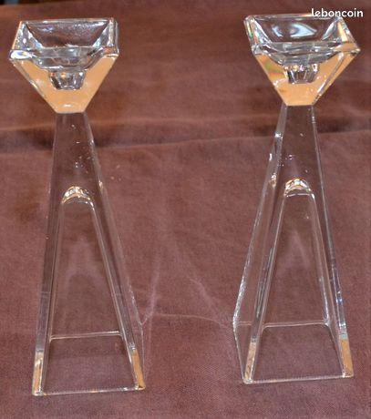 2 bougeoirs en cristal