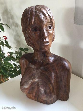 Sculpture en bois buste de femme